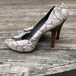"BCBGMaxAzria Snake Skin Print 4"" Heels."